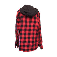 Red & Black Hooded Flannel Shirt Size Large