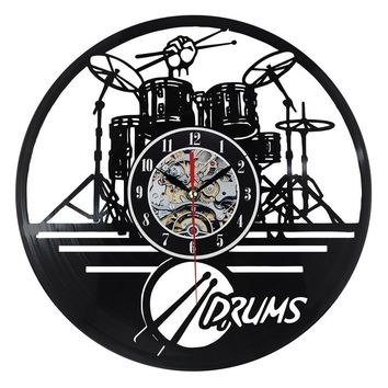 Vinyl Record Wall Clock Guitar Drums Set