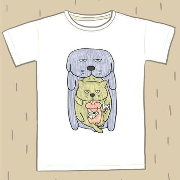 Dog Cat and Mouse Animal Peace Hand Drawn Illustration Animal Graphic Tee