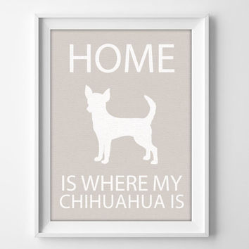 "8x10"" Chihuahua Wall Art, Illustrated Dog Art, Chihuahua Decor, Dog Breed Wall Art, Minimalist Pet Art, Puppy Wall Art Print, Chihuahua Gift"