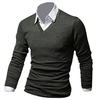 Jeansian Mens Dress Casual Slim Fit Long Sleeve T-Shirts Shirts D513