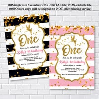 Fairy invites, Birthday Invitation, gold fairy girl birthday party for any age 1st 2nd 3rd 4th 5th 6th 7th 8th 9th 10th- card 1208