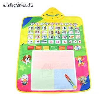 Abbyfrank Russian Alphabet Play Mat Magic Pen Water Drawing Baby Musical Mat Toy Crawling Carpet Gift for Baby Child Toddler