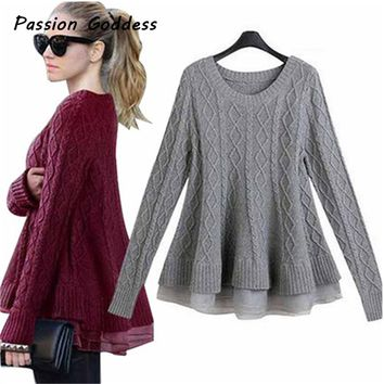 Plus Size Fashion Women Ruffles Sweater Pullovers Female Casual Peplum Knitwear Patchwork Ruffles Hem Sweater Poncho Knitted