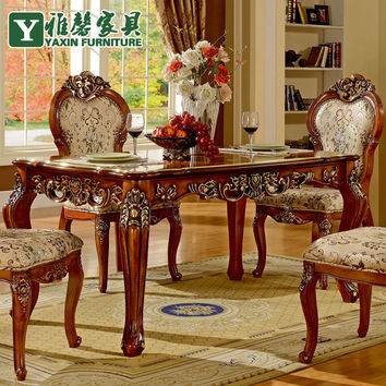 Xin Ya European antique wood dining table and chairs combination of imported hand-carved oak dining table classic table
