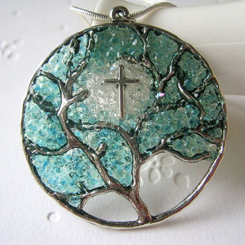 Cross Necklace Silver Tree Pendant Cathedral Stained Glass Christian Bible Religous Icon Aquamarine Jewelry March Birthstone Large Cross