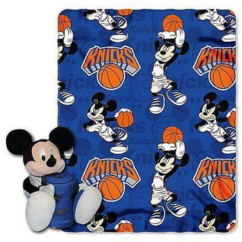 New York Knicks NBA Mickey Mouse Throw and Hugger Pillow Set