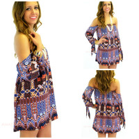 SZ SMALL Mayan Dream Orange Print Dress