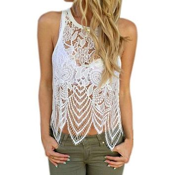 Women's Lace Crocheted Tank Top -Plus Sizes - Free Shipping