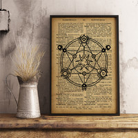 Magic circle Occult symbol print, Magic illustration, esoteric print summoning spirits, Vintage style dictionary print  (AL05)