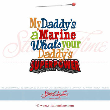 My Daddy's a Marine What's your Daddy's SUPERPOWER Custom embroidered t-shirt or one piece w/snaps boys, girls, military, Air National Guard