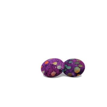 Purple Earrings // Batik Fabric // Button Earrings // Gifts under 25 // Fabric Earrings