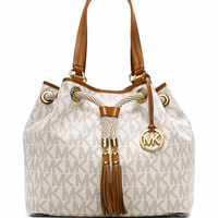 Marina Large Gathered Logo Tote Bag, Vanilla - MICHAEL Michael Kors