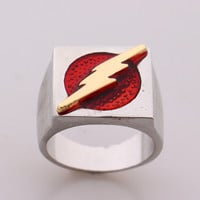 The Flash Superhero Ring with Gold Flash Lighting Logo Silver Ring DC Movie Comic Ring Jewelry
