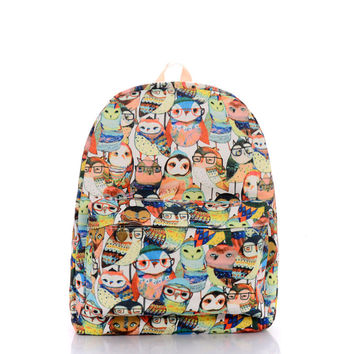 Owl Cats Canvas Backpack = 4887572484
