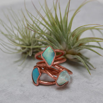 Opal Ring // Opal Statement Ring // October Birthstone // Raw Stone Ring // Double Band Opal Ring // Ethiopian Opal Ring // Boho Jewelry