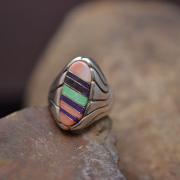 Heavy Signed Native American Ring with Stone Inlay