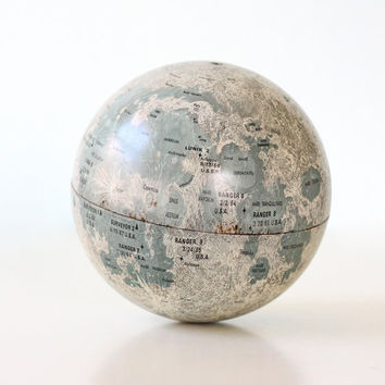 "Vintage Moon Globe - 6"" tin globe by Replogle"
