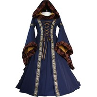 Stylish women dress Renaissance Medieval Cotton Costume Pirate Boho Peasant Wench long sleeve Victorian Dresses one pieces