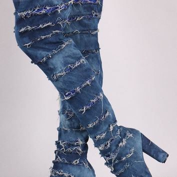 Distressed Denim Chunky Heeled Over-The-Knee Boots