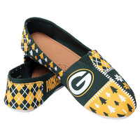 Green Bay Packers Forever Collectibles Women's Ugly Canvas Slip On Shoes Sizes S-XL w/ Priority Shipping