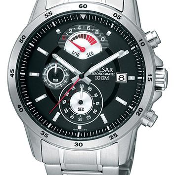 Pulsar PS6019 Men's Black Dial Chronograph Stainless Steel Watch
