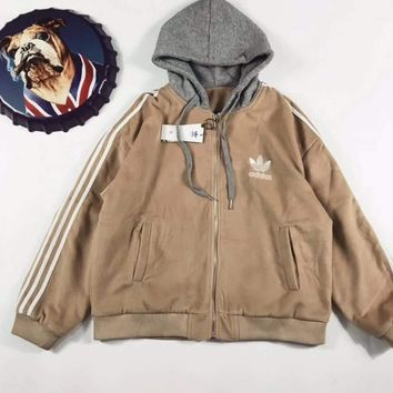 adidas winter three stripe zip up hoodie jacket