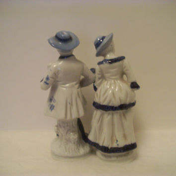 VINTAGE Cobalt BLUE, Gold And WHITE 1800's Style Musical Characters Flambro Porcleain Figurines