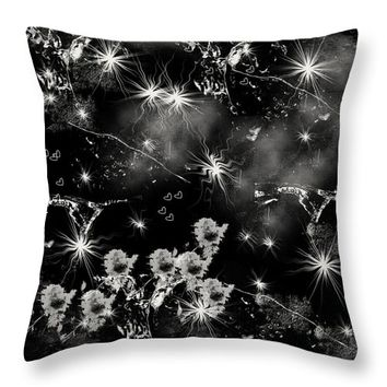 Black Square By Jenny Rainbow Throw Pillow