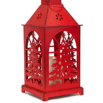 Jolly Holidays Collection Lantern w/Christmas Tree Cutout & LED Candle