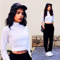 White High Neck Long Sleeve Cropped Top