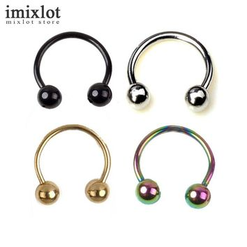 Imixlot 5 Pcs Stainless Steel Nostril Nose Ring Lip Rings Earrings Sircular Piercing Ball Horseshoe Hoop Ring Body Jewelry