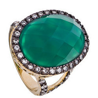Andara Oval Solitaire Dark Green Agate Ring - Max and Chloe