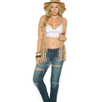 Faux suede vest with fringe detail  Queen Size