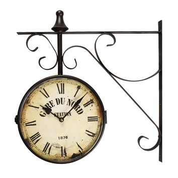 "Black Iron Vintage-Inspired Double-Sided Wall Clock With Scroll Wall Mount ""Gard Du Nord Station"" [CK0003]"