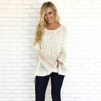 Eyes Closed Oversize Knit Sweater in Ivory