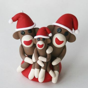 Sock Monkey Santa Family Christmas Tree Ornament