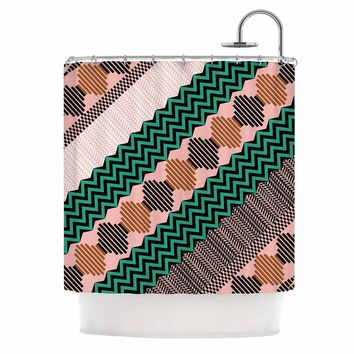 "Akwaflorell ""Knitted 2"" Green Coral Pattern Shower Curtain"