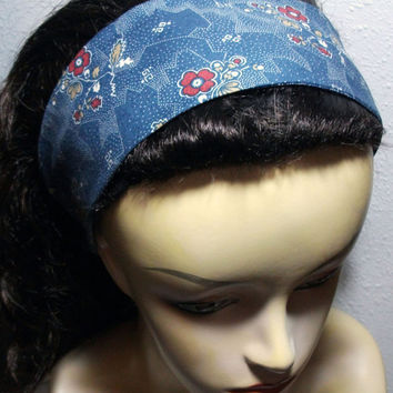 Red Flowers on Blue Background Headband Reversible Wide Wrap Around Fabric Headband