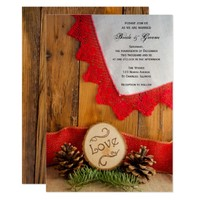 Rustic Pines and Red Lace Wedding Invitation