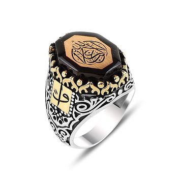 Mens amber gemstone angular ring 925 sterling silver with calligraphy