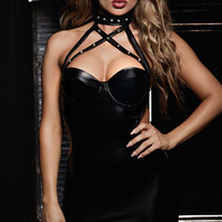 Studs and Straps Vinyl Chemise, Black Faux Leather Chemise, Strappy Chemise