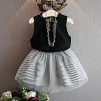 Girls clothing set Baby Kids Girl Clothing Sleeveless Blouse T-shirt+Stripe Short Skirt Set Outfits