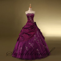 Long Prom Quinceanera Dress Formal Evening Military Ball Gown Embroidery Ruffles