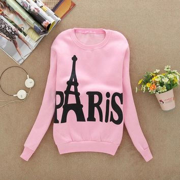 New Fashion Autumn Women Sweatshirts Long Sleeve Print Pullover Casual Sweatshirt Blouse Tops Shirt Outwear Eiffel Tower Pattem