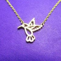 Hummingbird Outline Shaped Animal Charm Necklace in Gold | DOTOLY
