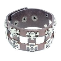 Top Value Jewelry - Mens Brown Leather Biker Cuff Bracelet with Vintage Silver Crosses and Skulls - Like Love Buy