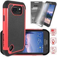 Samsung Galaxy S6 Active Cyber Defender Case® by ElBolt® - Red with Free HD Screen Protector [Does Not Fit Regular Galaxy S6]