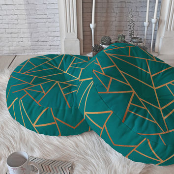Elisabeth Fredriksson Copper and Teal Floor Pillow Round | DENY Designs Home Accessories