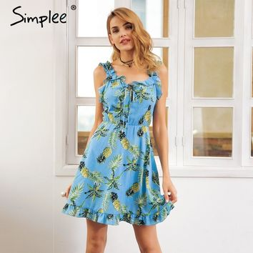 Simplee Fashion ruffle neck strap print dress women Backless shirred tie up mini dress Beach casual summer short dress vestido